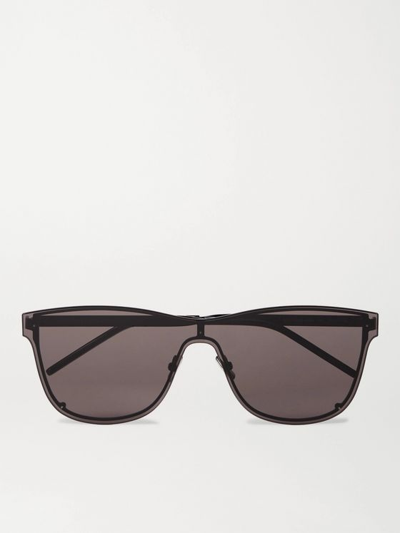 SAINT LAURENT Square-Frame Metal Sunglasses