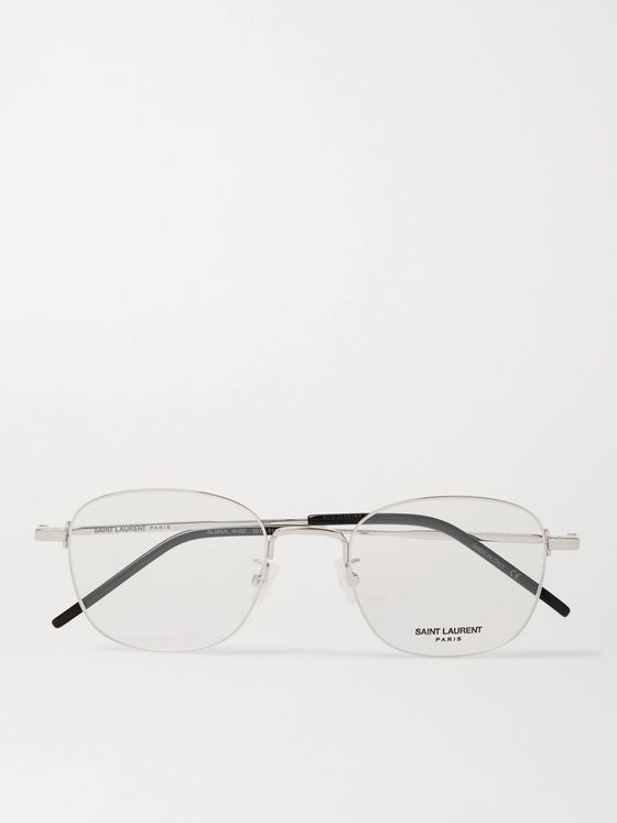 SAINT LAURENT Round-Frame Silver-Tone Optical Glasses