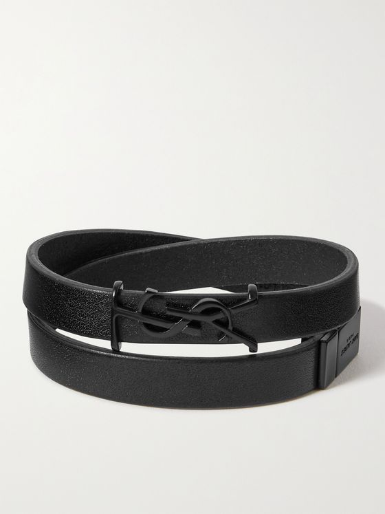 SAINT LAURENT Leather Wrap Bracelet
