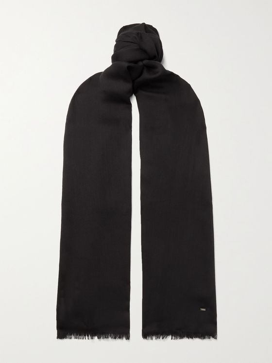 SAINT LAURENT Logo-Detailed Wool Scarf