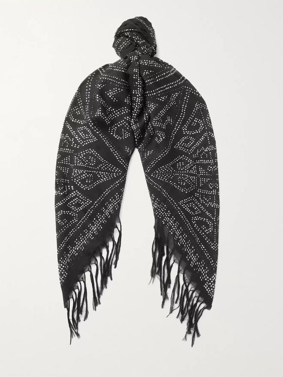 SAINT LAURENT Fringed Printed Wool-Jacquard Scarf
