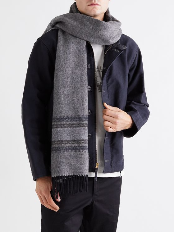 RRL Weston Fringed Intarsia Wool and Cashmere-Blend Scarf
