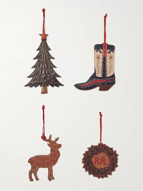 RRL Set of Four Painted Leather Ornaments