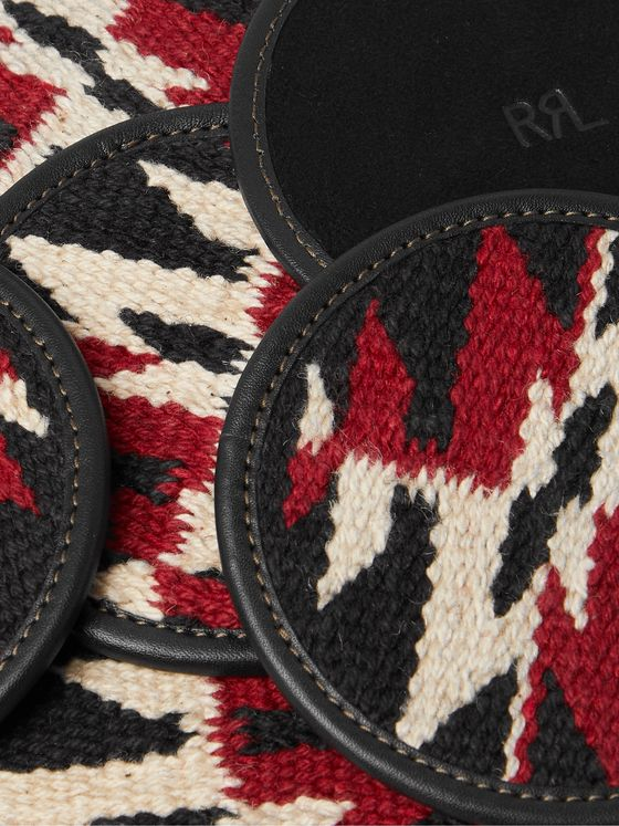RRL Set of Six Logo-Embossed Leather and Jacquard Coasters