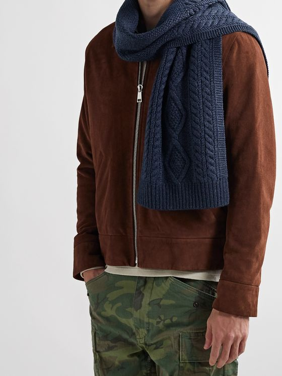 RRL Cable-Knit Wool Scarf