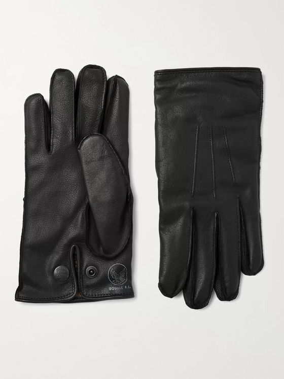 RRL Cashmere-Lined Logo-Print Leather Gloves