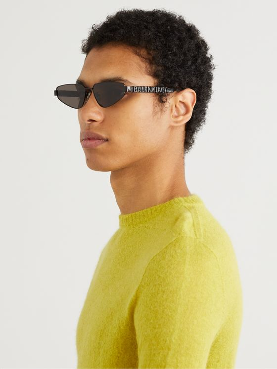 Balenciaga Rectangle-Frame Logo-Detailed Metal and Acetate Sunglasses