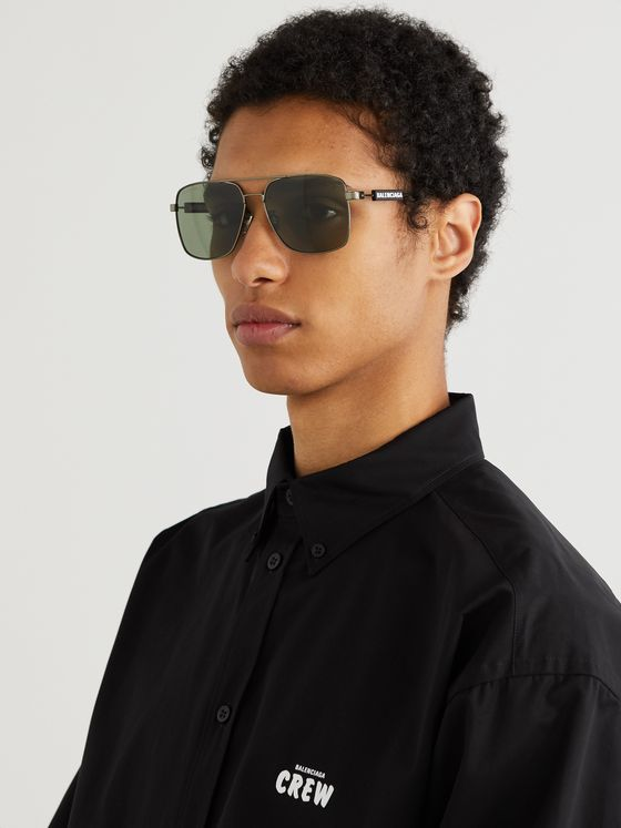 BALENCIAGA Aviator-Style Gunmetal-Tone, Rubber and Acetate Sunglasses