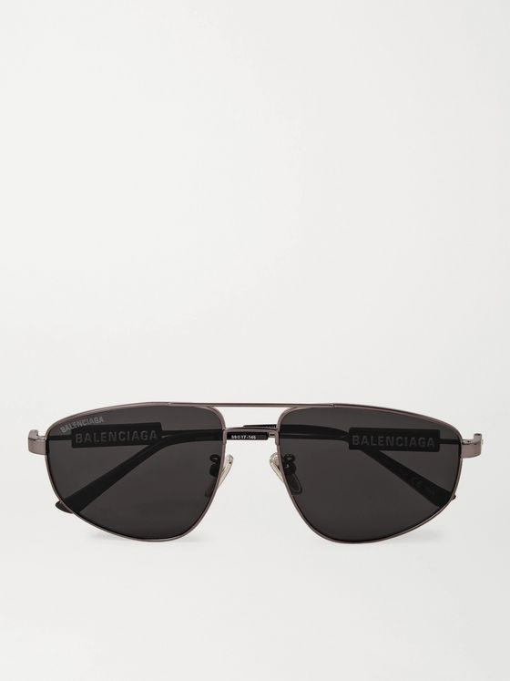 BALENCIAGA Aviator-Style Logo-Detailed Gunmetal-Tone Sunglasses