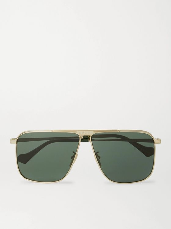 GUCCI D-Frame Gold-Tone Sunglasses