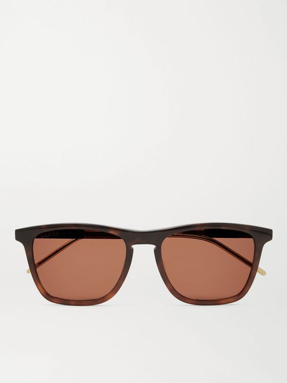 GUCCI Square-Frame Tortoiseshell Acetate and Gold-Tone Sunglasses