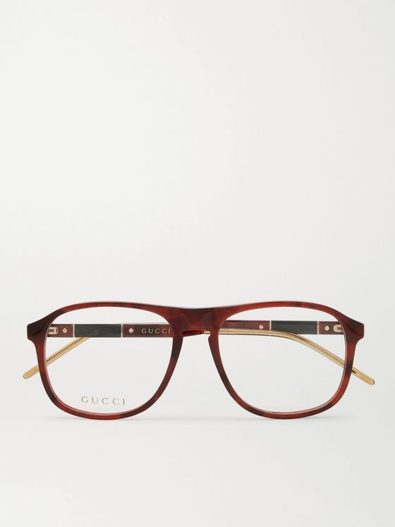 GUCCI D-Frame Tortoiseshell Acetate and Gold-Tone Optical Glasses