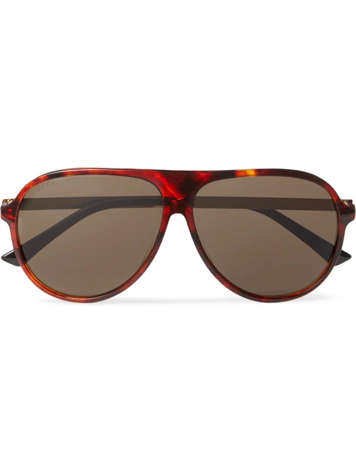 Gucci - Aviator-Style Tortoiseshell Acetate And Gold-Tone Sunglasses - Men - Tortoiseshell