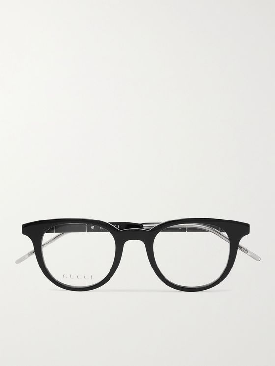 GUCCI Round-Frame Acetate and Silver-Tone Optical Glasses