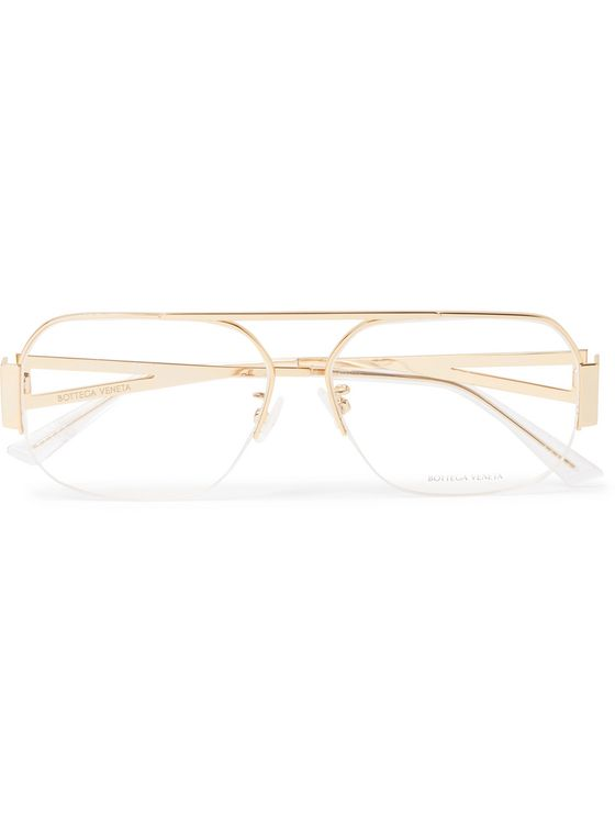 BOTTEGA VENETA Aviator-Style Gold-Tone Optical Glasses