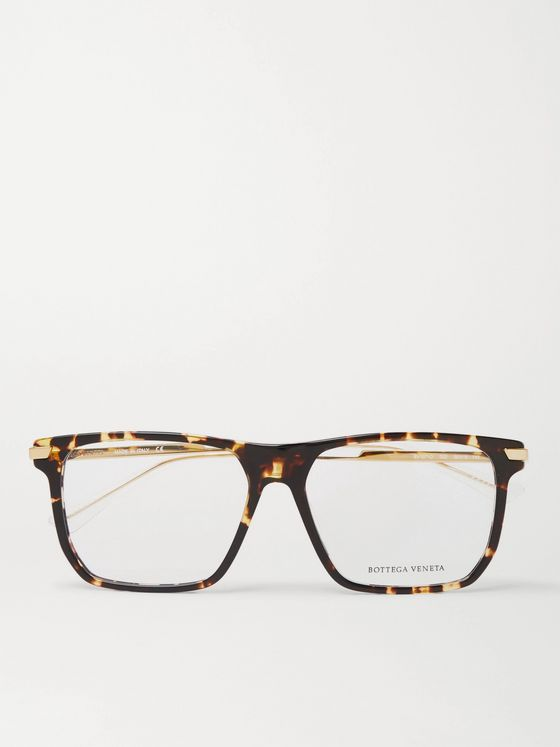 BOTTEGA VENETA Square-Frame Tortoiseshell Acetate and Gold-Tone Optical Glasses