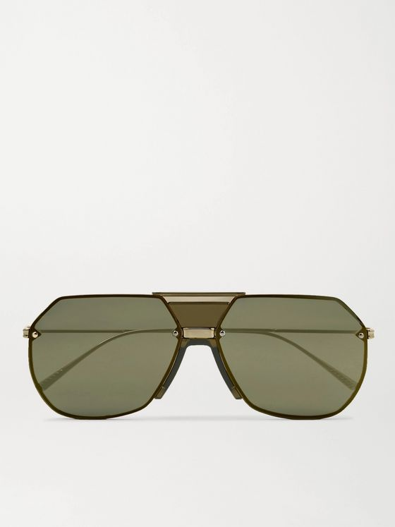 BOTTEGA VENETA Aviator-Style Gold-Tone Mirrored Sunglasses