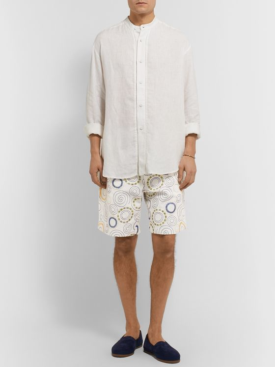 SMR Days Pleated Embroidered Cotton Shorts