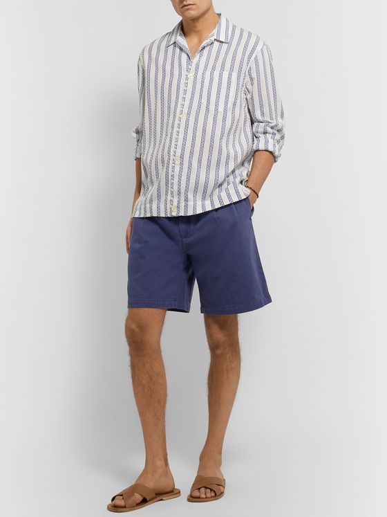 SMR DAYS Wide-Leg Pleated Herringbone Cotton Shorts