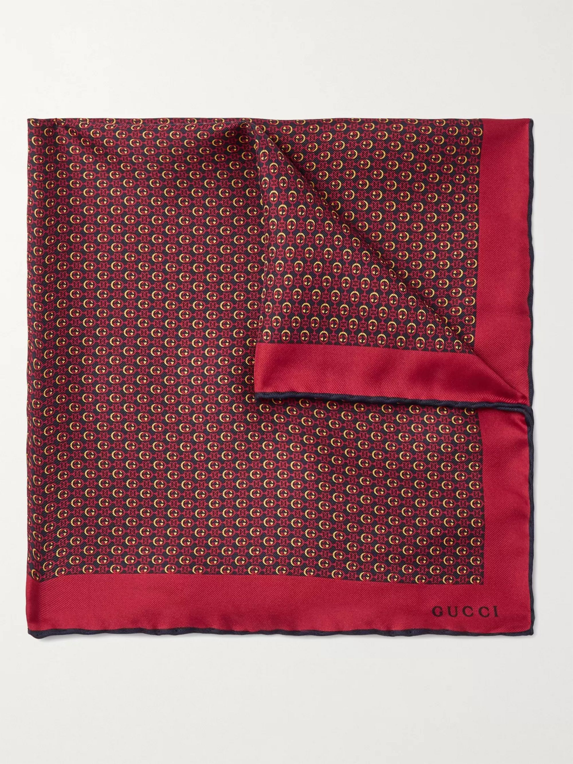 구찌 포켓 스퀘어 Gucci Monogram-Print Silk-Twill Pocket Square,Red