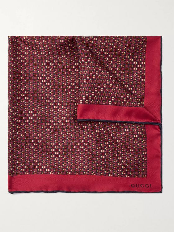 GUCCI Monogram-Print Silk-Twill Pocket Square