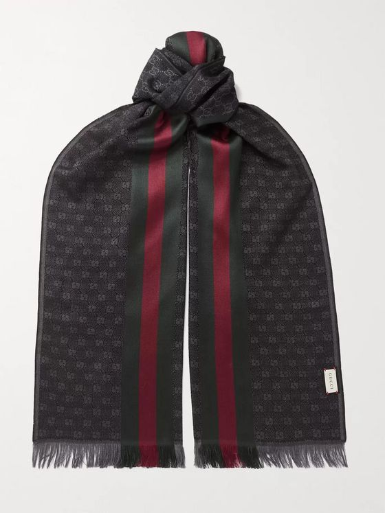 GUCCI Fringed Logo-Jacquard Wool and Silk-Blend Scarf