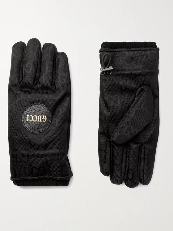 GUCCI Padded Cashmere-Lined Logo-Jacquard Shell Gloves