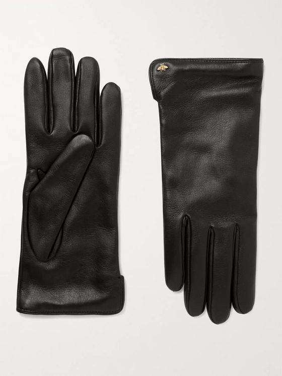 GUCCI Logo-Embellished Leather Gloves