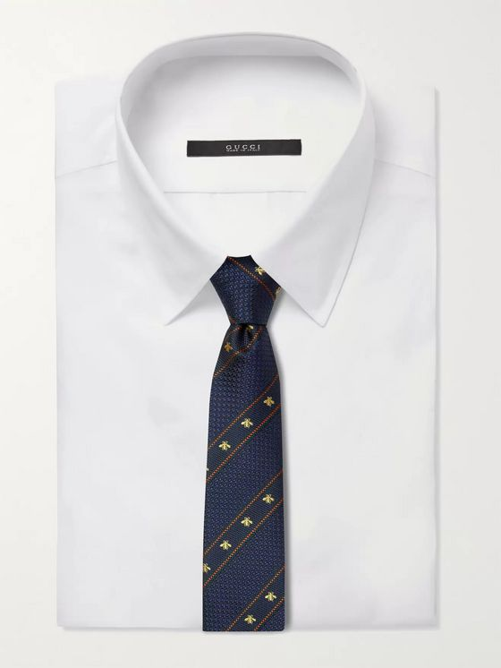 GUCCI 7cm Logo-Detailed Striped Silk-Jacquard Tie