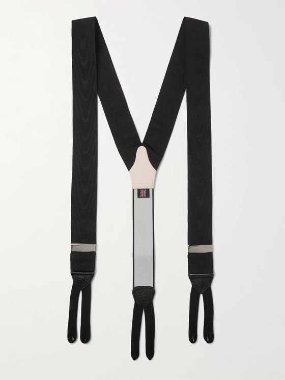 Favourbrook Leather-Trimmed Silk-Moire Braces