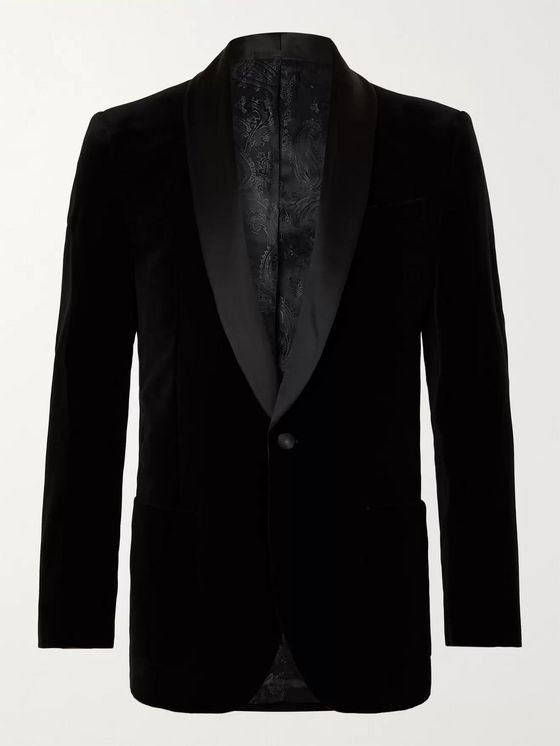 Favourbrook Chaucer Satin-Trimmed Cotton-Velvet Tuxedo Jacket