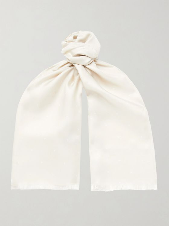 Favourbrook Fringed Polka-Dot Silk-Twill Scarf