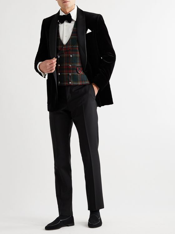 Favourbrook Dunrobin Slim-Fit Double-Breasted Prince of Wales Checked Wool-Blend Waistcoat