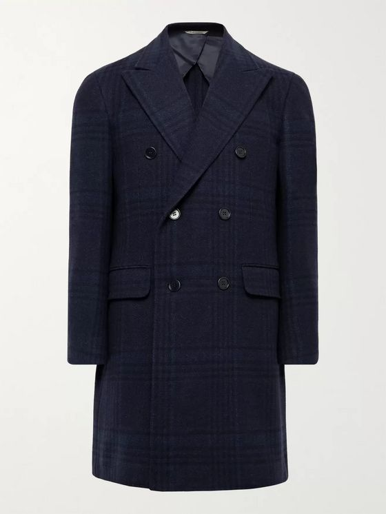CANALI Double-Breasted Checked Wool and Cashmere-Blend Overcoat