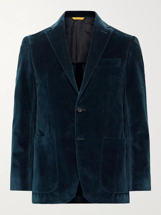 CANALI Kei Slim-Fit Unstructured Textured Cotton-Velvet Blazer