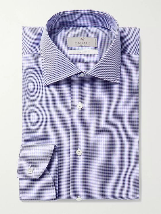 CANALI Slim-Fit Cutaway-Collar Gingham Cotton-Poplin Shirt