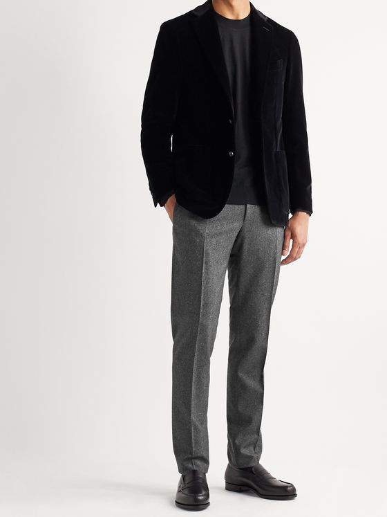 Canali Mélange Wool-Flannel Suit Trousers