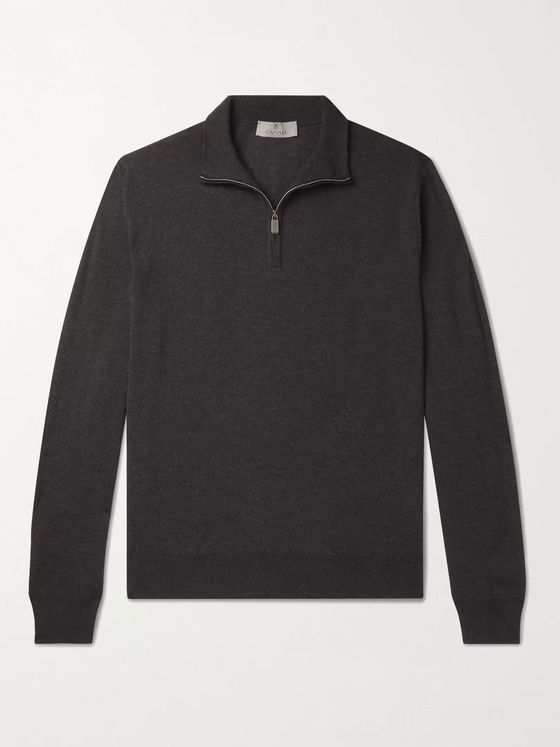 CANALI Slim-Fit Merino Wool Half-Zip Sweater