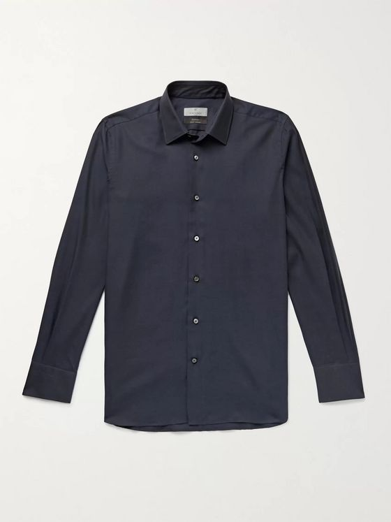 CANALI Cotton and Cashmere-Blend Twill Shirt