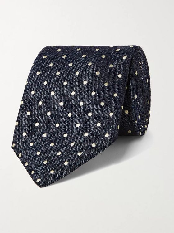 CANALI 8cm Polka-Dot Embroidered Silk Tie