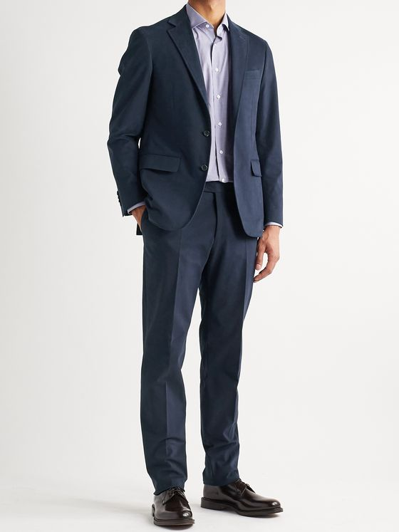 CANALI Slim-Fit Stretch-Cotton Twill Suit Trousers