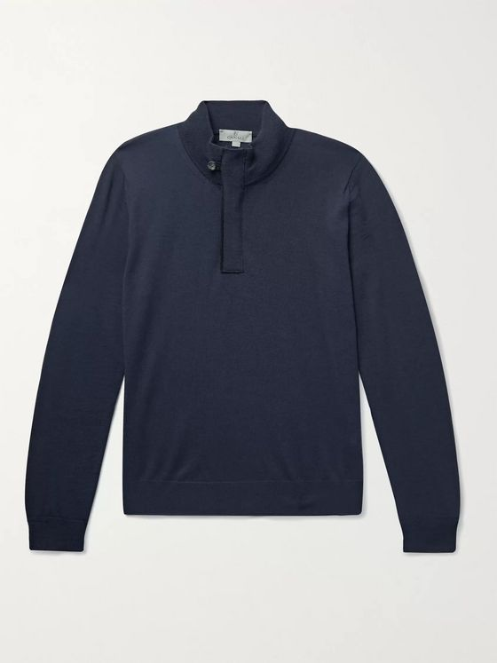 Canali Slim-Fit Suede-Trimmed Wool Half-Zip Sweater