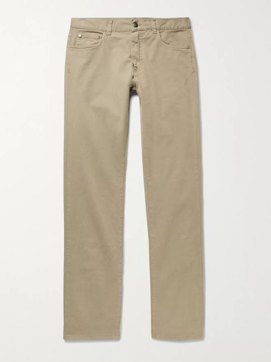 CANALI Cotton-Blend Twill Trousers