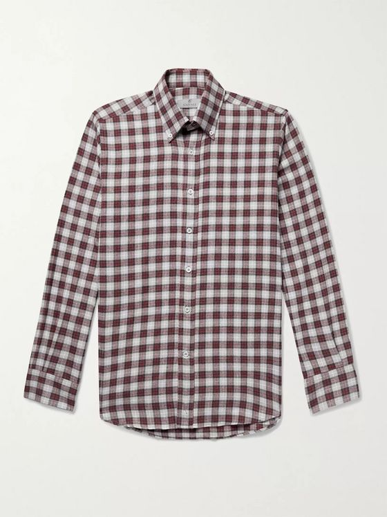 Canali Button-Down Collar Checked Cotton Shirt