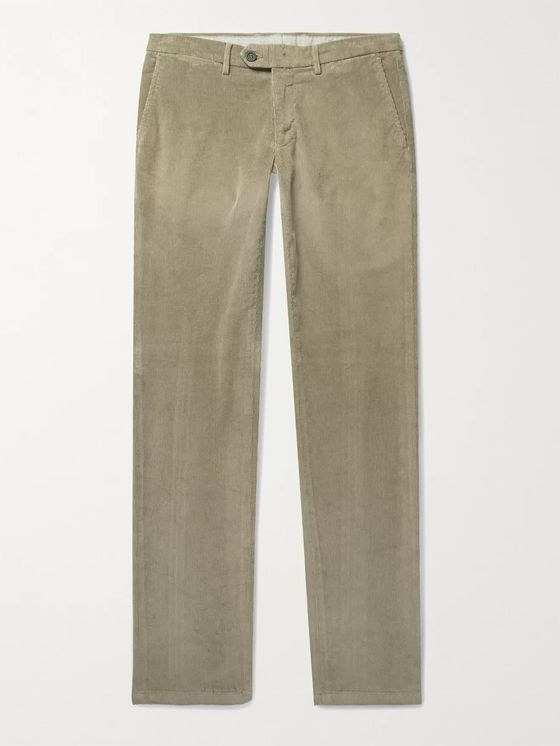 CANALI Slim-Fit Stretch Cotton and Modal-Blend Corduroy Trousers