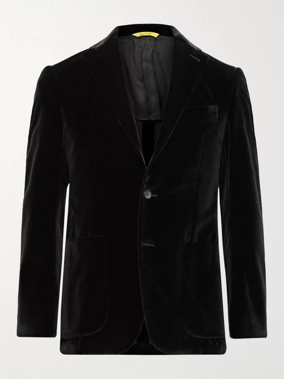 CANALI Kei Slim-Fit Unstructured Cotton-Velvet Blazer