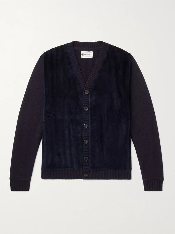Connolly Cotton Corduroy-Panelled Wool Cardigan