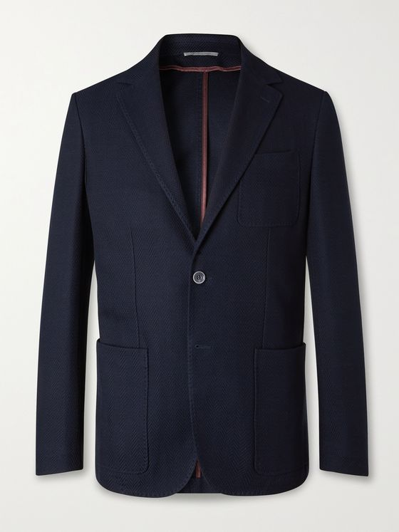 CANALI Slim-Fit Unstructured Herringbone Cotton-Jersey Blazer