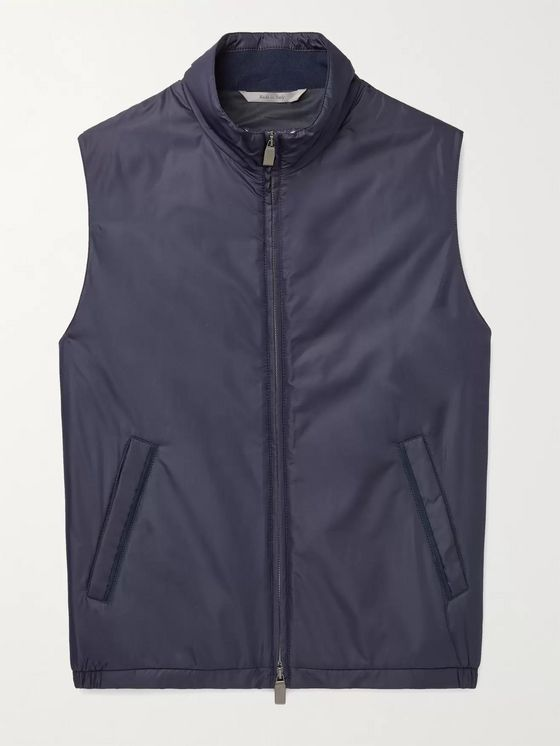 CANALI Suede-Trimmed Padded Shell Gilet