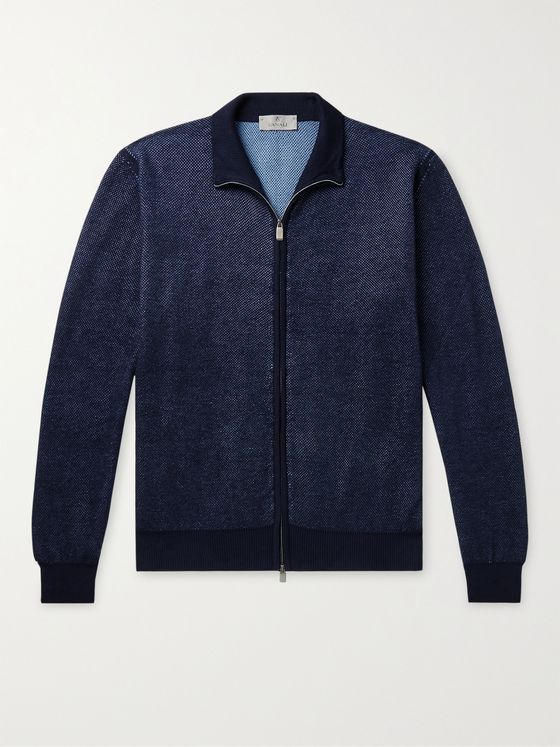 CANALI Waffle-Knit Cotton Zip-Up Cardigan